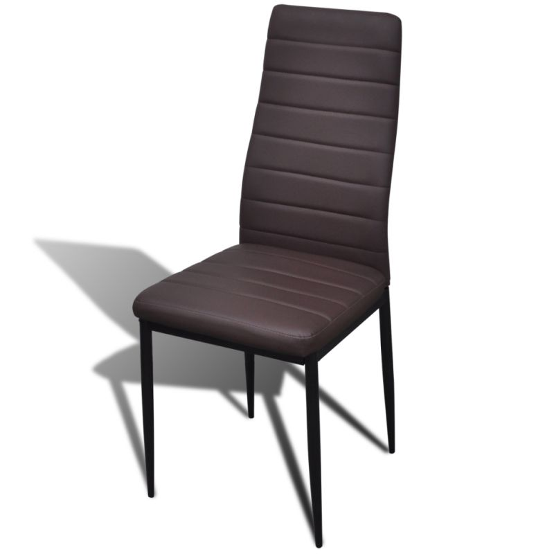 6x Slim Line Faux Leather Dining Chairs In Brown Buy