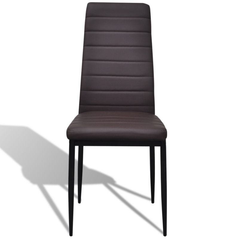 6x Slim Line Faux Leather Dining Chairs in Brown   Buy ...