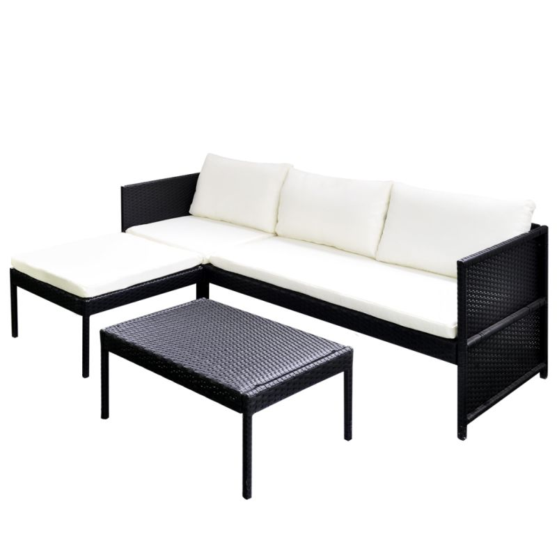 4 seat outdoor pe rattan sofa lounge set in black buy outdoor sofas. Black Bedroom Furniture Sets. Home Design Ideas