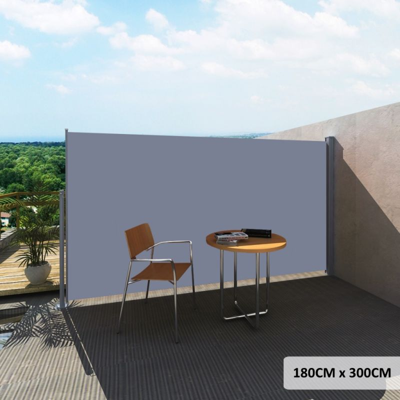 Outdoor Retractable Side Awning In Grey 180x300cm Buy