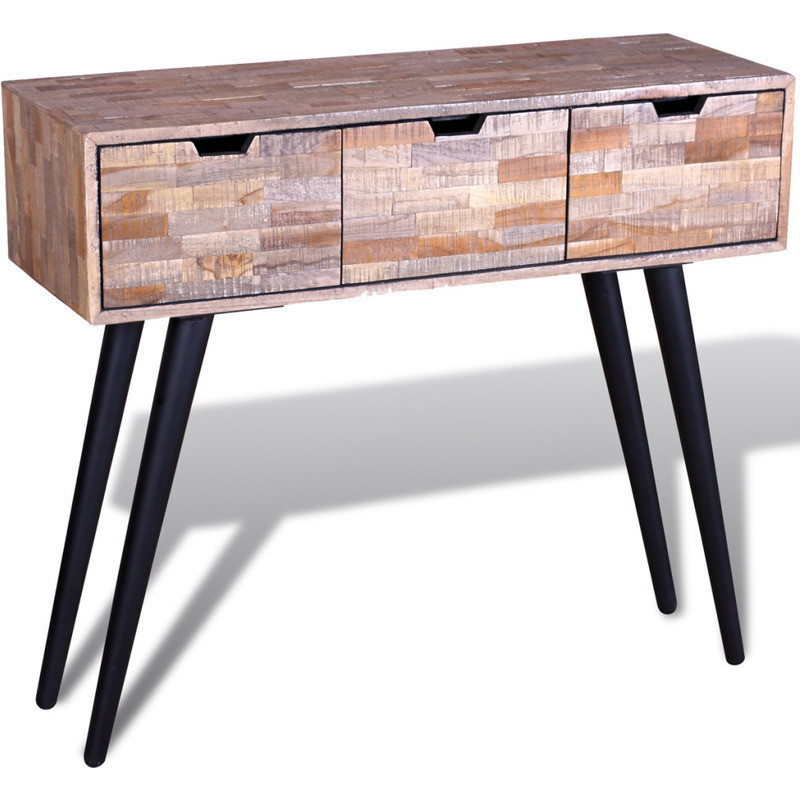 Reclaimed teak wood console hall table w drawers buy