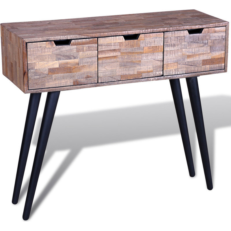 Reclaimed Teak Wood Console Hall Table W 3 Drawers Buy