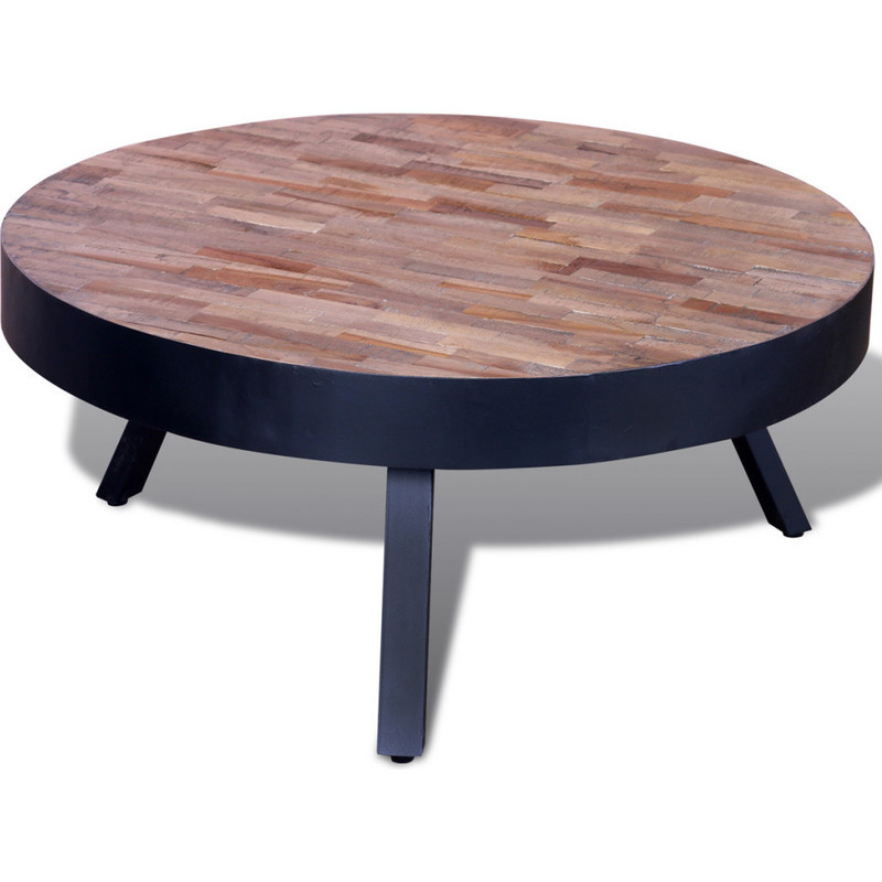 Reclaimed Teak Wood & Iron Round Coffee Table 76cm