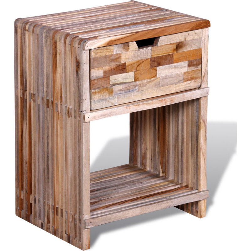 Reclaimed teak wood bedside table w drawer shelf buy for Bedside table shelf