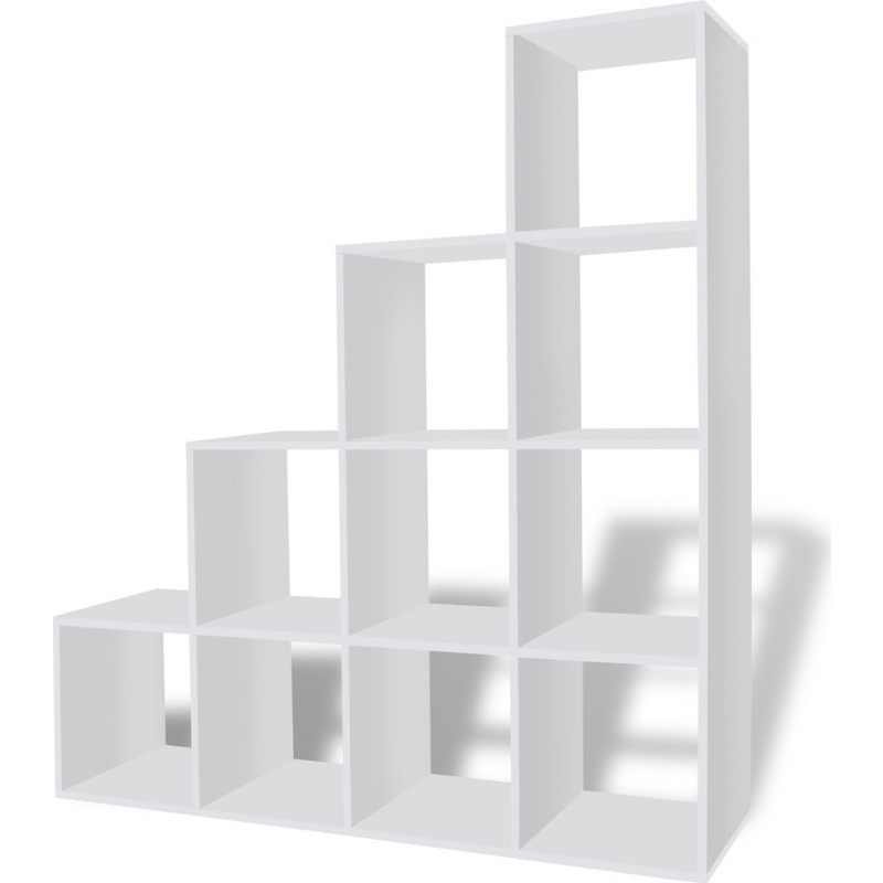 10 Cube Staircase Storage Shelf Bookcase In White Buy