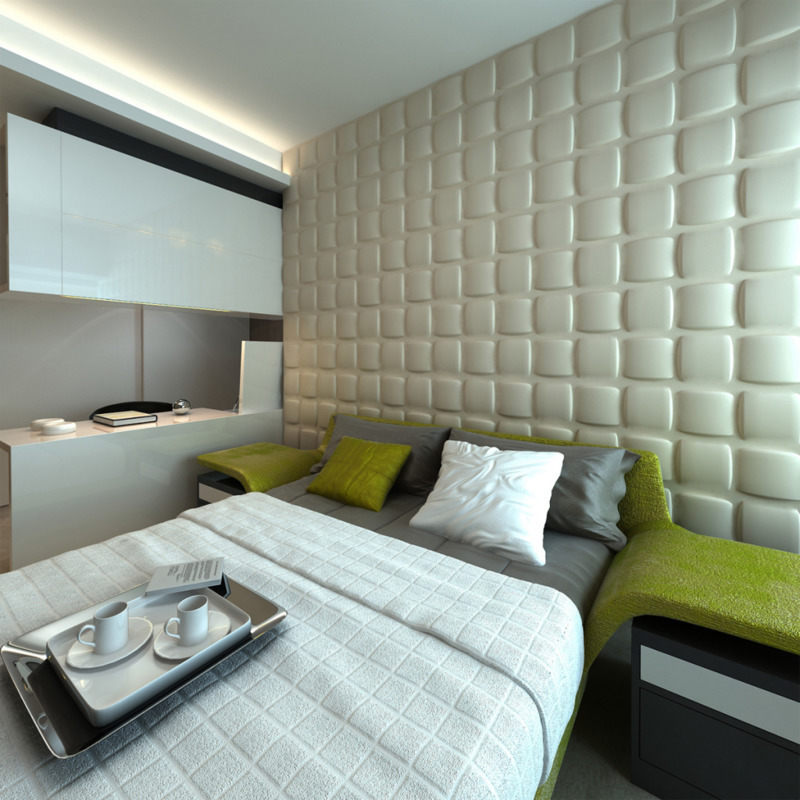 Square Wall Paneling : Pc square design bamboo fibre d wall panel white buy