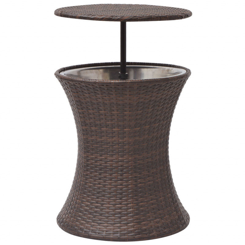 Brown Rattan Coffee Table Outdoor: Outdoor PE Rattan Ice Bucket Coffee Table In Brown