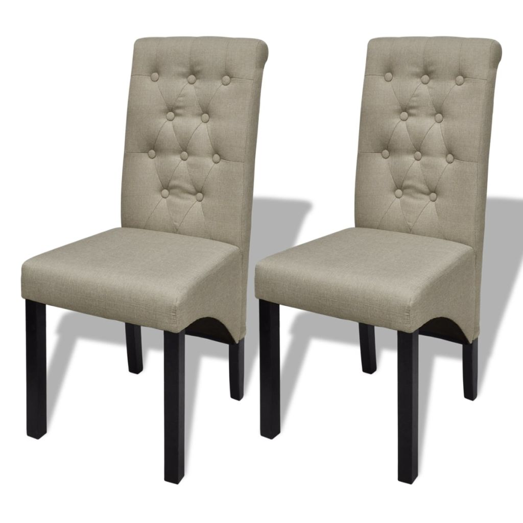 Vidaxl 2x Dining Chairs Fabric Linen Beige High Back Kitchen Stool Seat Modern