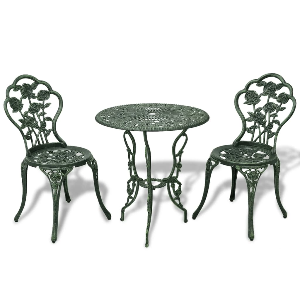 cb2cfea21a67b h m s Remaining. 3 pc Outdoor Cast Aluminium Bistro Table Chair Set Vintage Garden  Patio Green