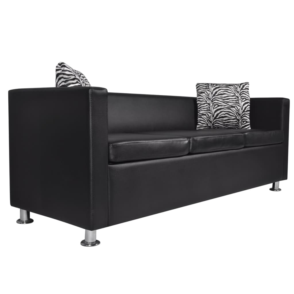 Pillows Leather Sofa: Black Leather Sofa Bed 3 Seater Lounge Suite Couch Chaise