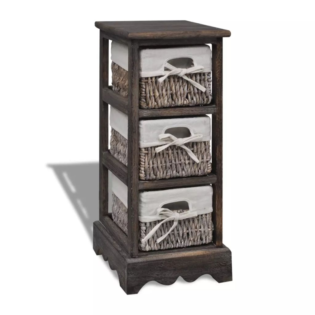 Vidaxl Storage Rack Brown Wooden 3 Basket Drawer Organiser Cabinet Rack Shelf