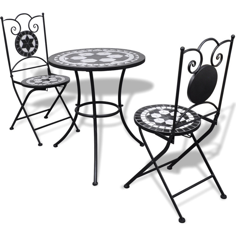 3pc outdoor mosaic bistro set in black white 60cm buy 2 seat dining sets