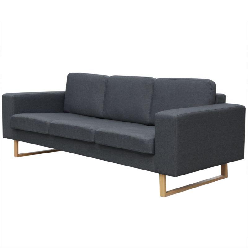 3 Seater Fabric Sofa With Wooden Legs In Dark Grey Buy