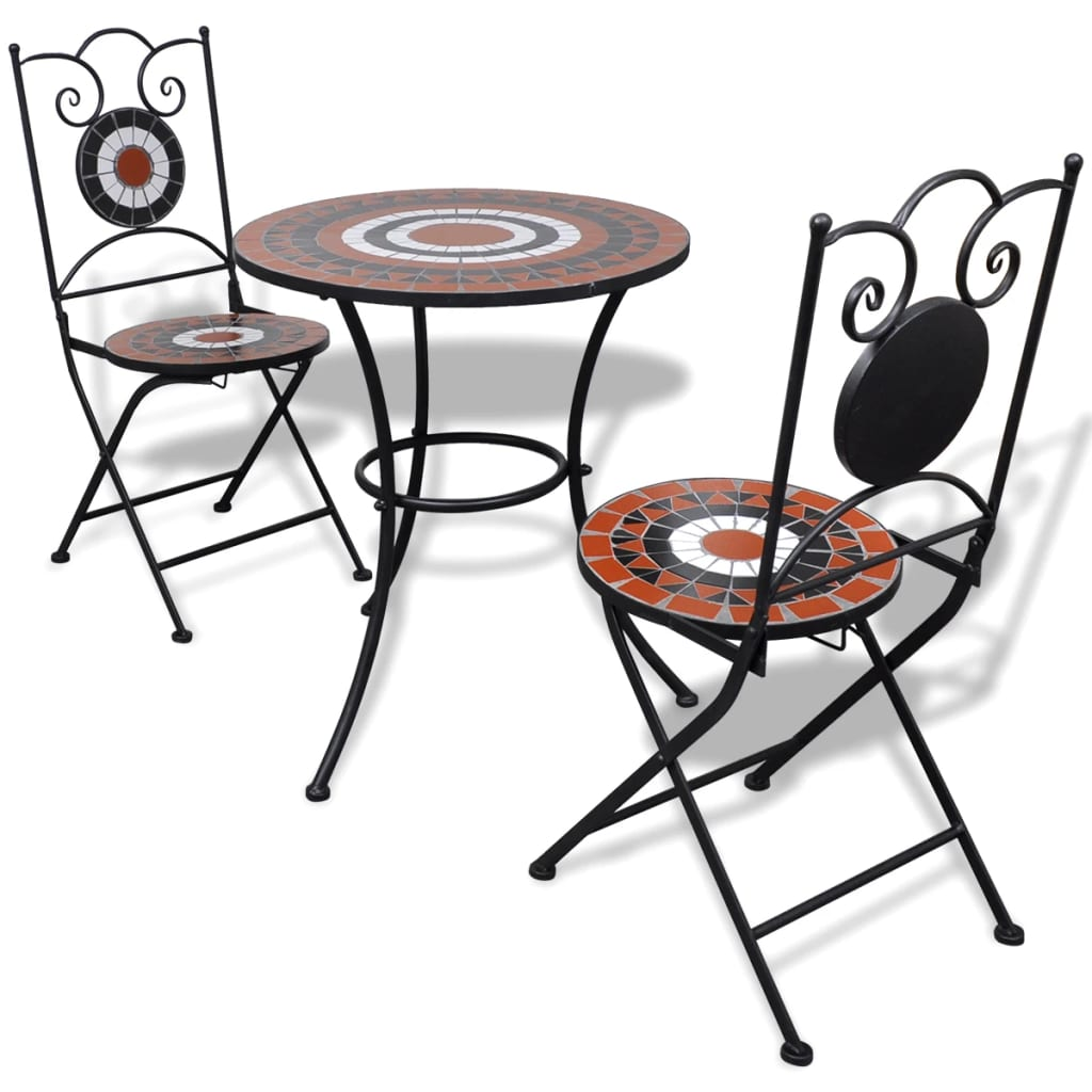 3 piece patio porch bistro garden table chairs set mosaic 3 piece patio porch bistro garden table chairs set mosaic terracotta and white watchthetrailerfo