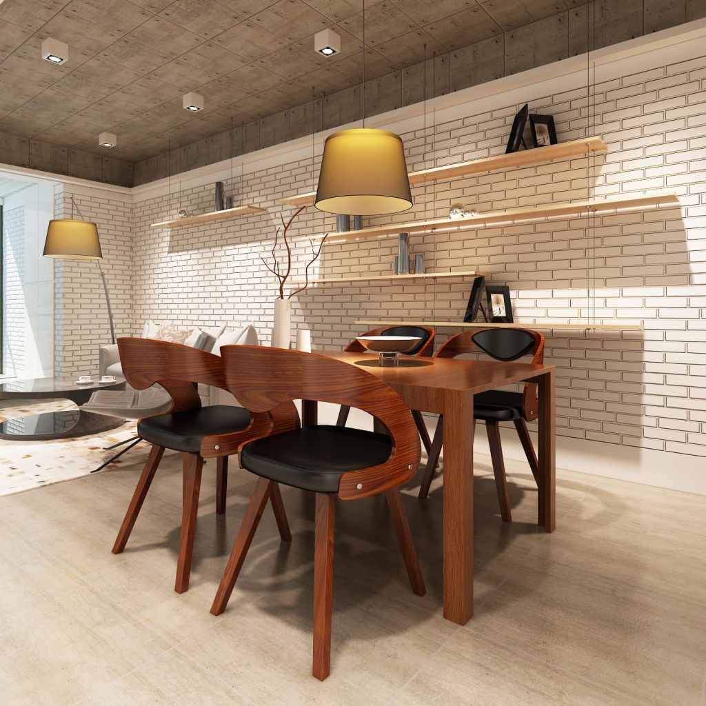 Shop Dark Brown Metal Frame Faux Leather Kitchen And: VidaXL 4x Dining Chairs With Wooden Frame Brown Kitchen