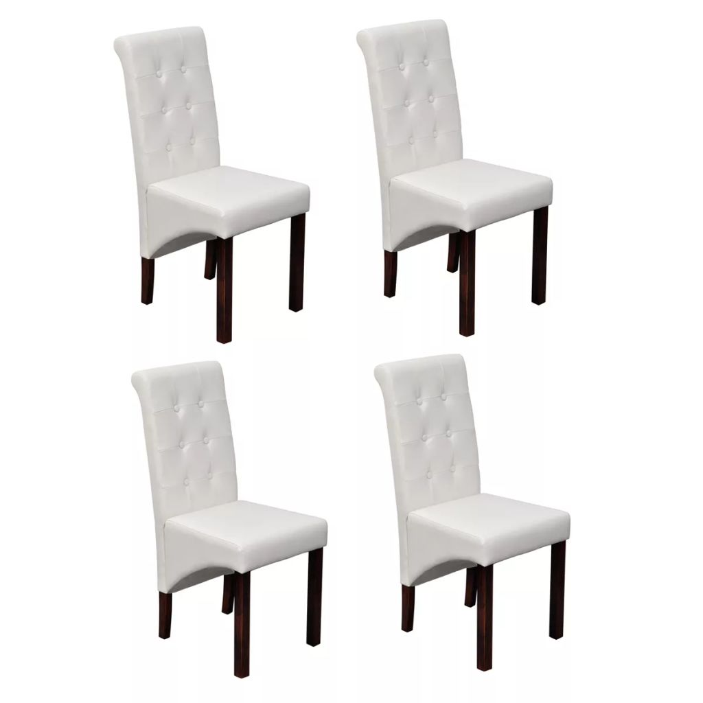 White Leather Kitchen Chairs: VidaXL 4x Dining Chairs White PU Artificial Leather Wood