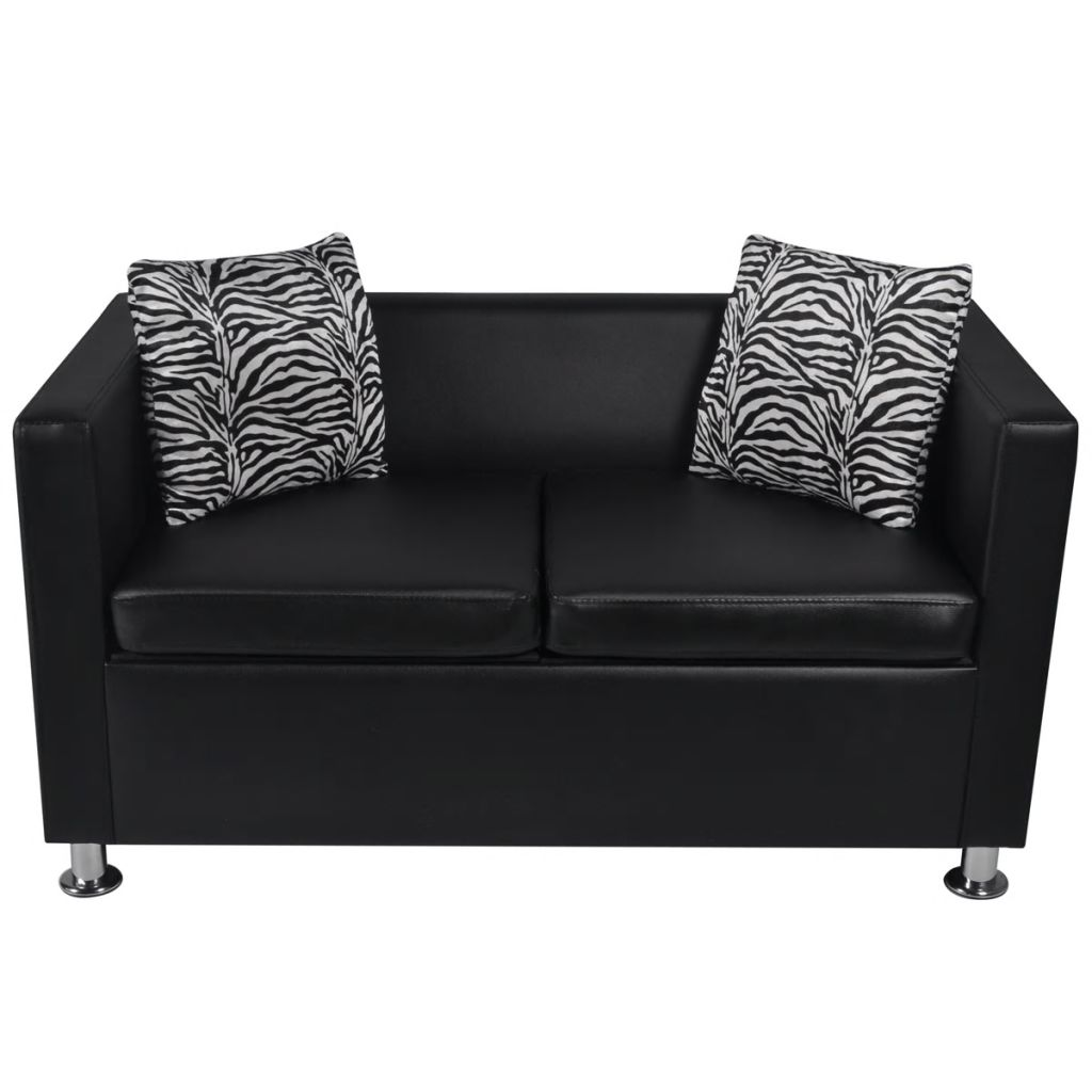 Black 3 2 Seater Artificial Leather Couch Sofa With