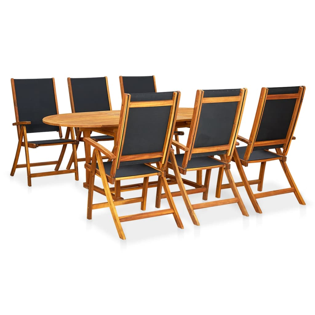 7 Piece Outdoor Dining Set Acacia Wood And Textilene Oval Extension