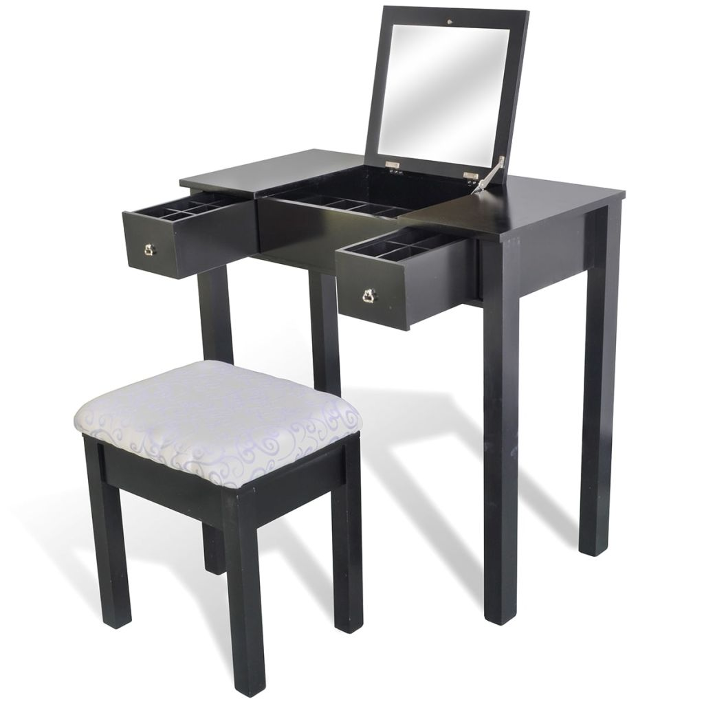 Vidaxl Dressing Table With Stool And 1 Flip Up Mirror Black