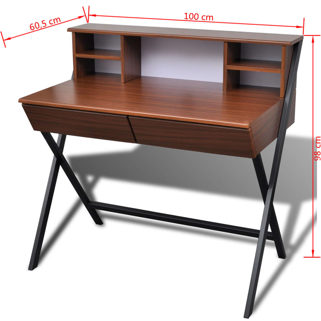 VidaXL Computer Desk Brown With 2 Drawer Home Office