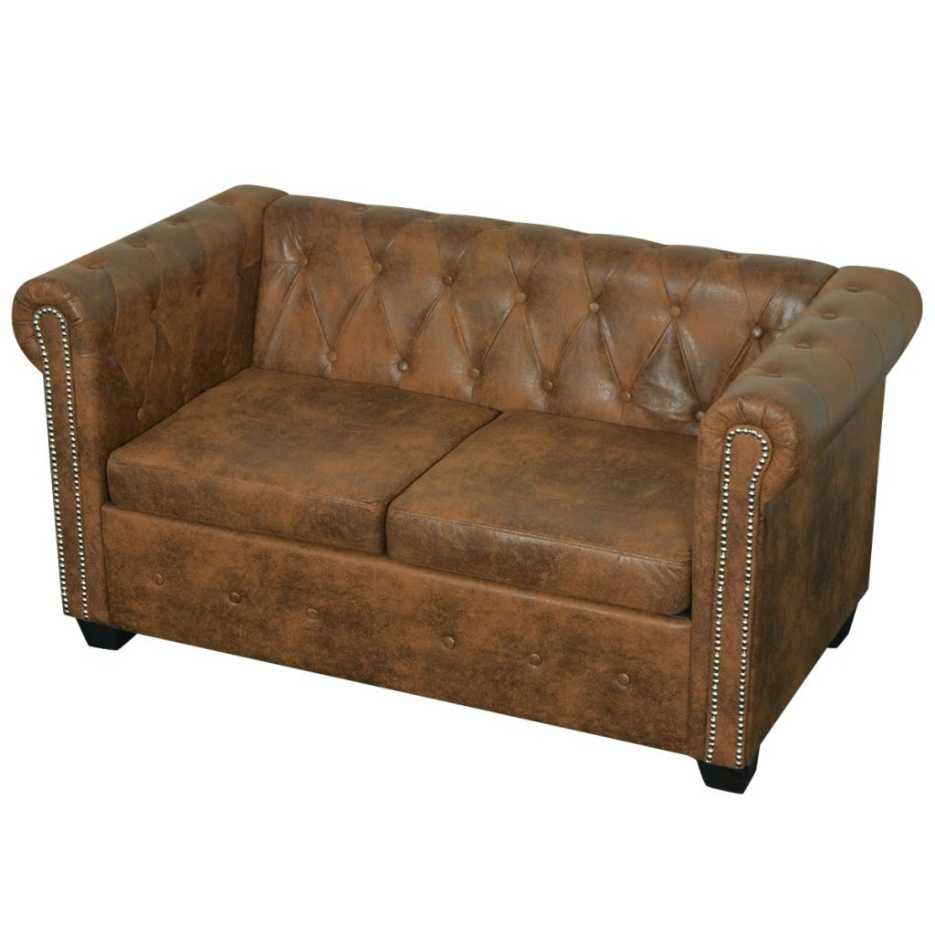 Vidaxl Chesterfield Sofa 2 Seater Faux Leather Brown Couch