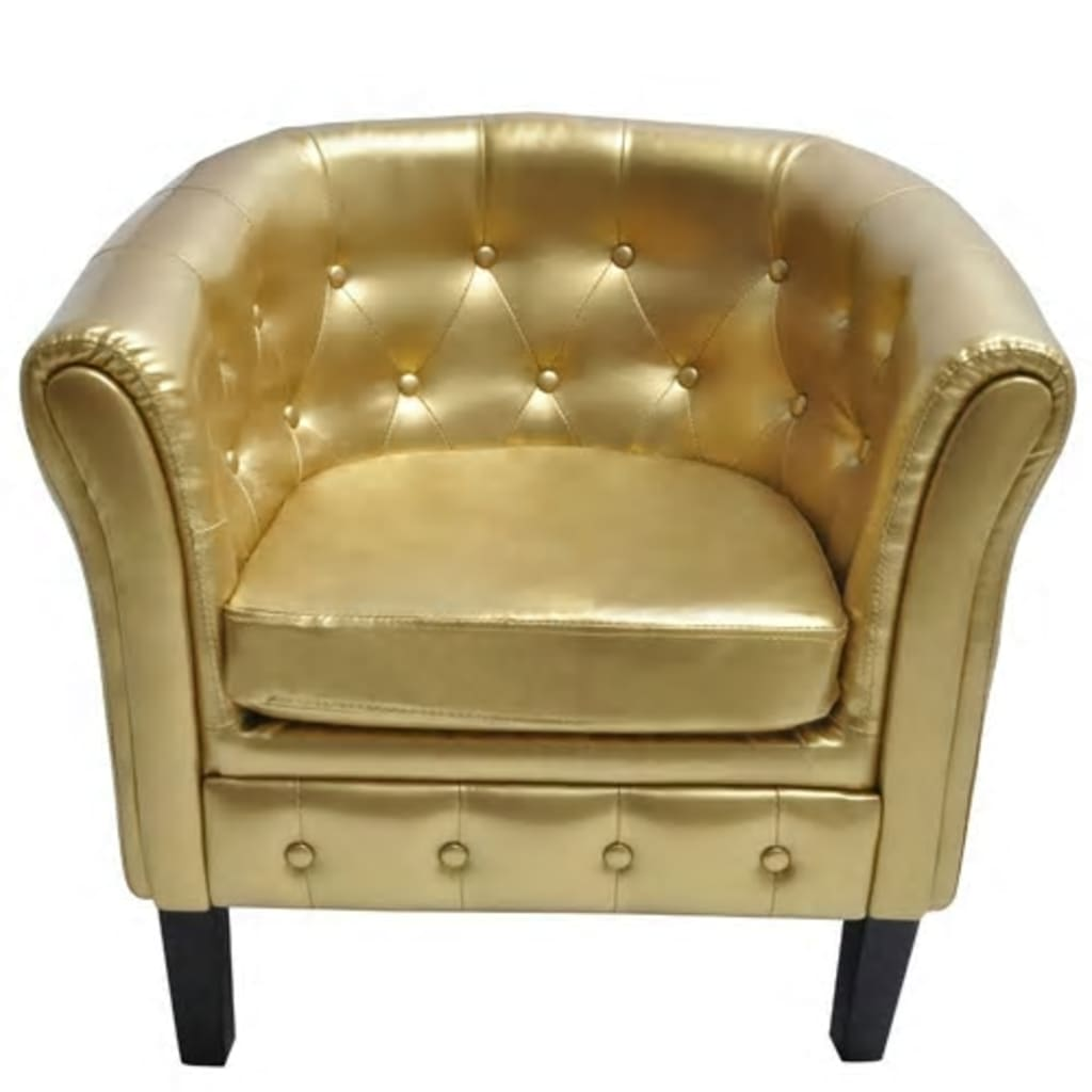 vidaXL Chesterfield Armchair Leather Gold Tub Chair Lounge Furniture ...