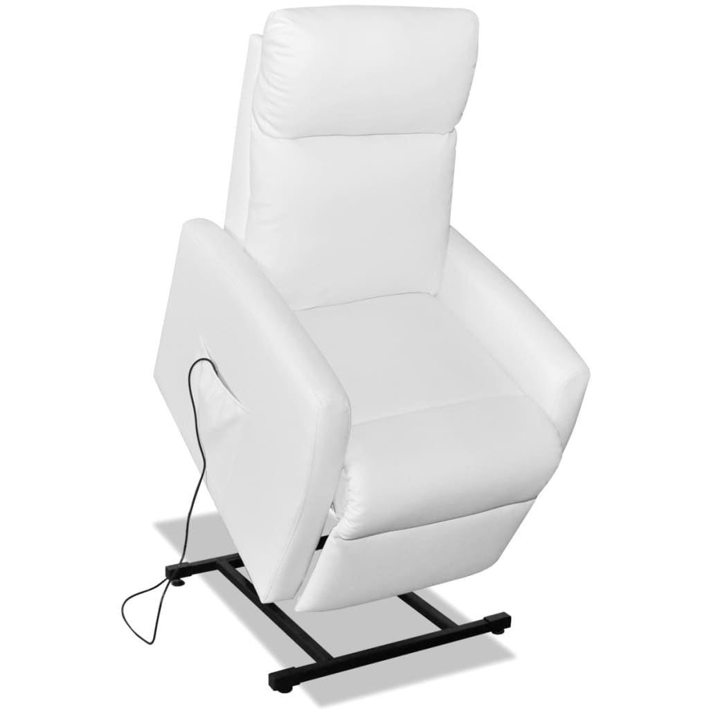 Vidaxl Tv Recliner Electric Lift Chair Furniture White Pu