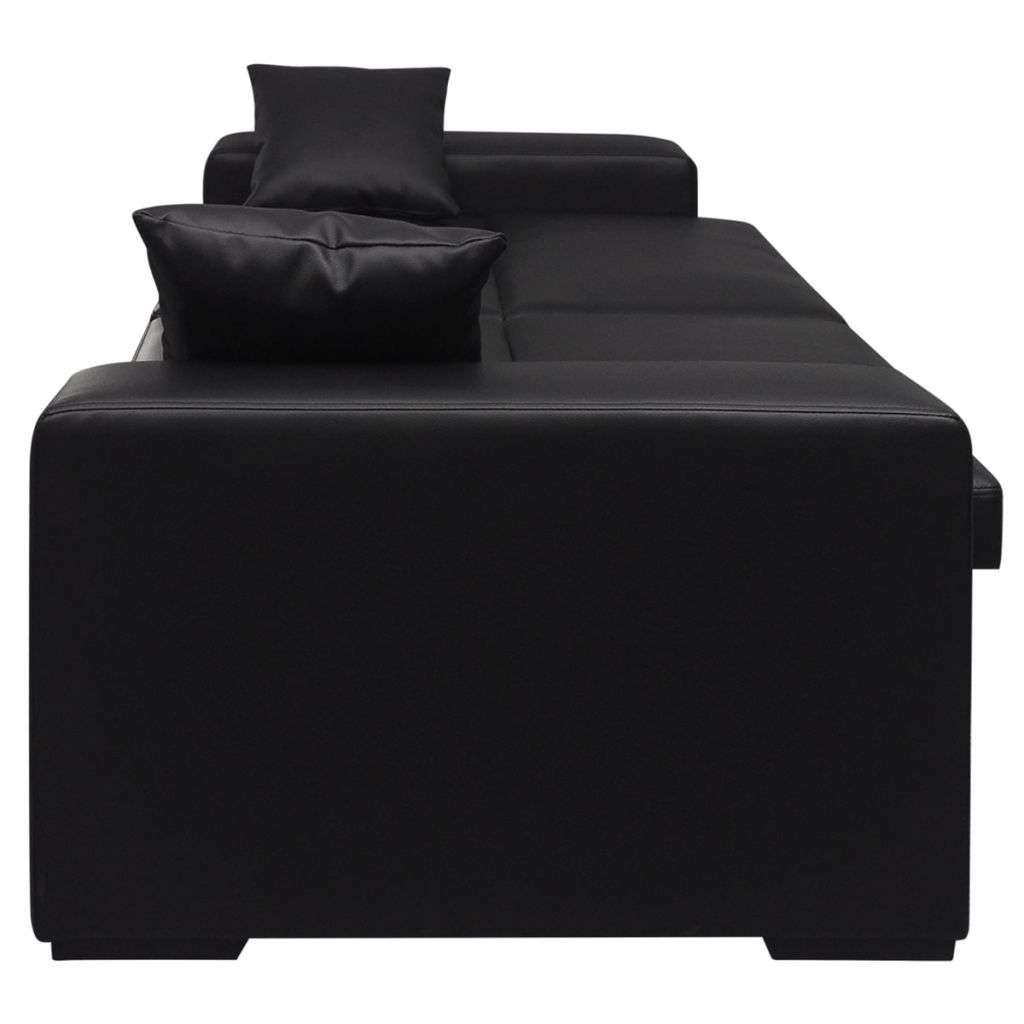 Black Leather Sofa Throw Pillows: Modern Black Leather Sofa Bed 2 Seater Corner Lounge Suite
