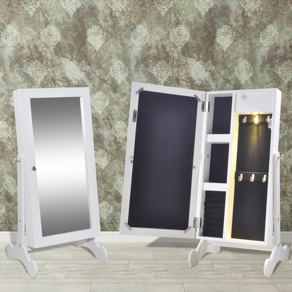 Vidaxl Jewelry Cabinet With Led Light And Mirror Door