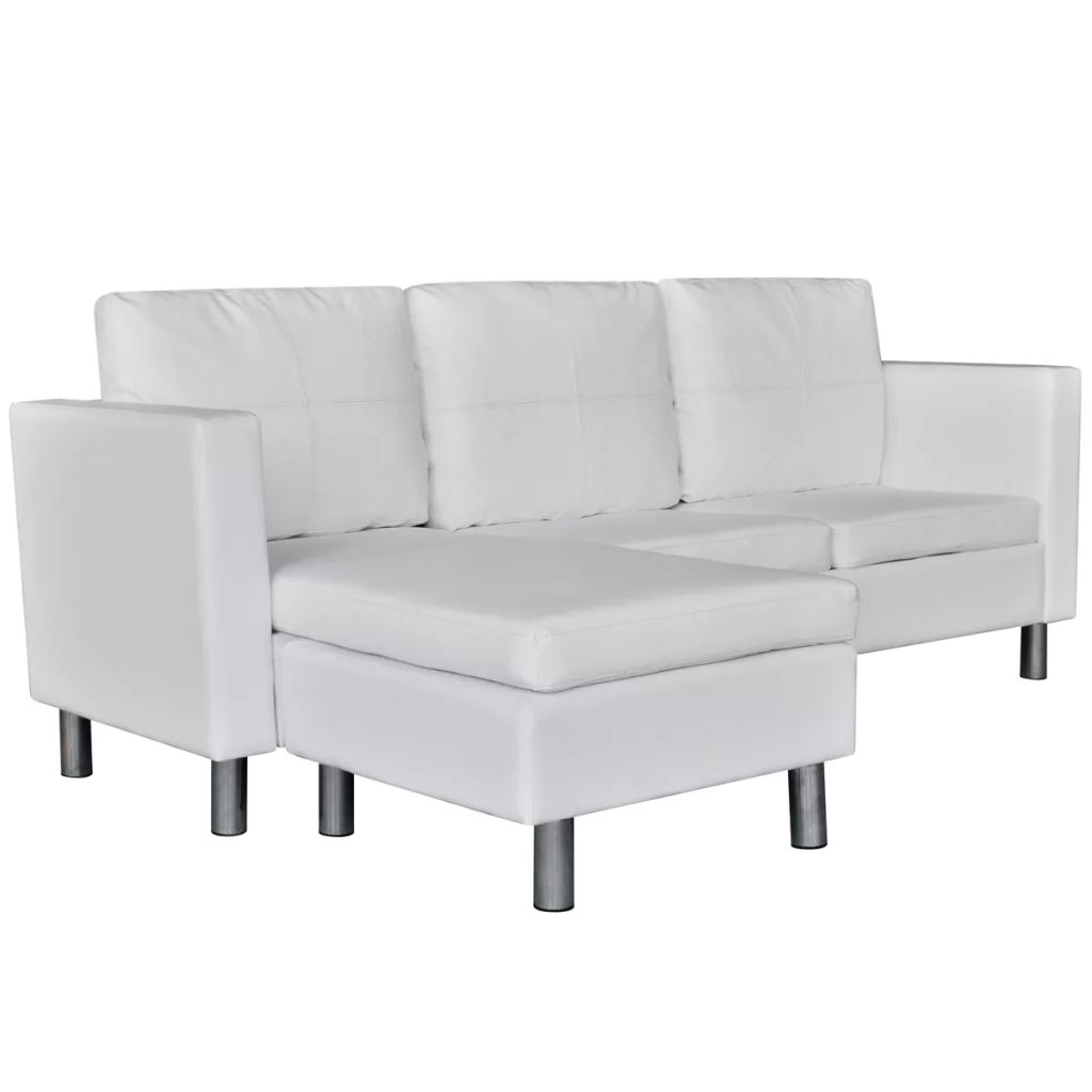 modern white leather corner sofa bed 3 seater lounge suite couch sectional seat buy sofas. Black Bedroom Furniture Sets. Home Design Ideas