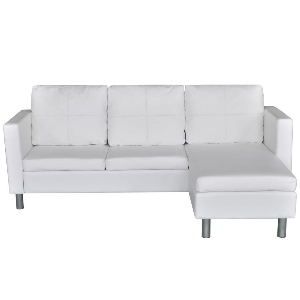 Modern White Leather Corner Sofa Bed 3 Seater Lounge Suite