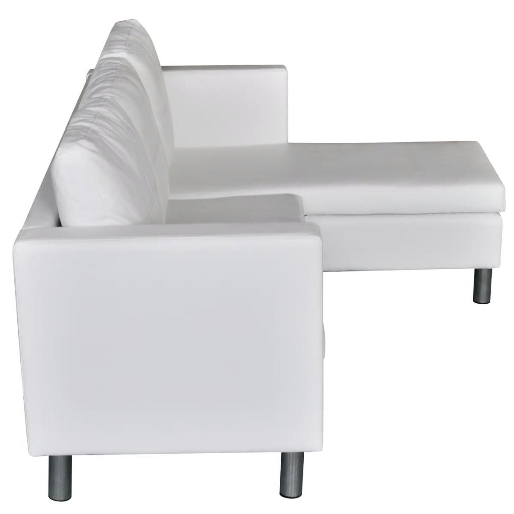White Leather Sectional Sofa Bed: Modern White Leather Corner Sofa Bed 3 Seater Lounge Suite