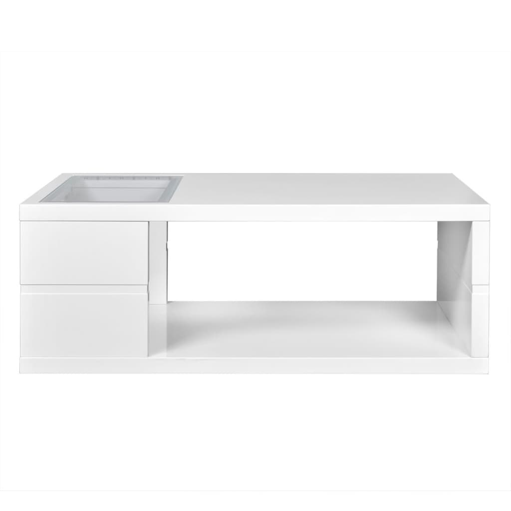 Lighted End Tables Living Room Furniture: High Gloss White Finish LED Coffee Table/Lighted Table