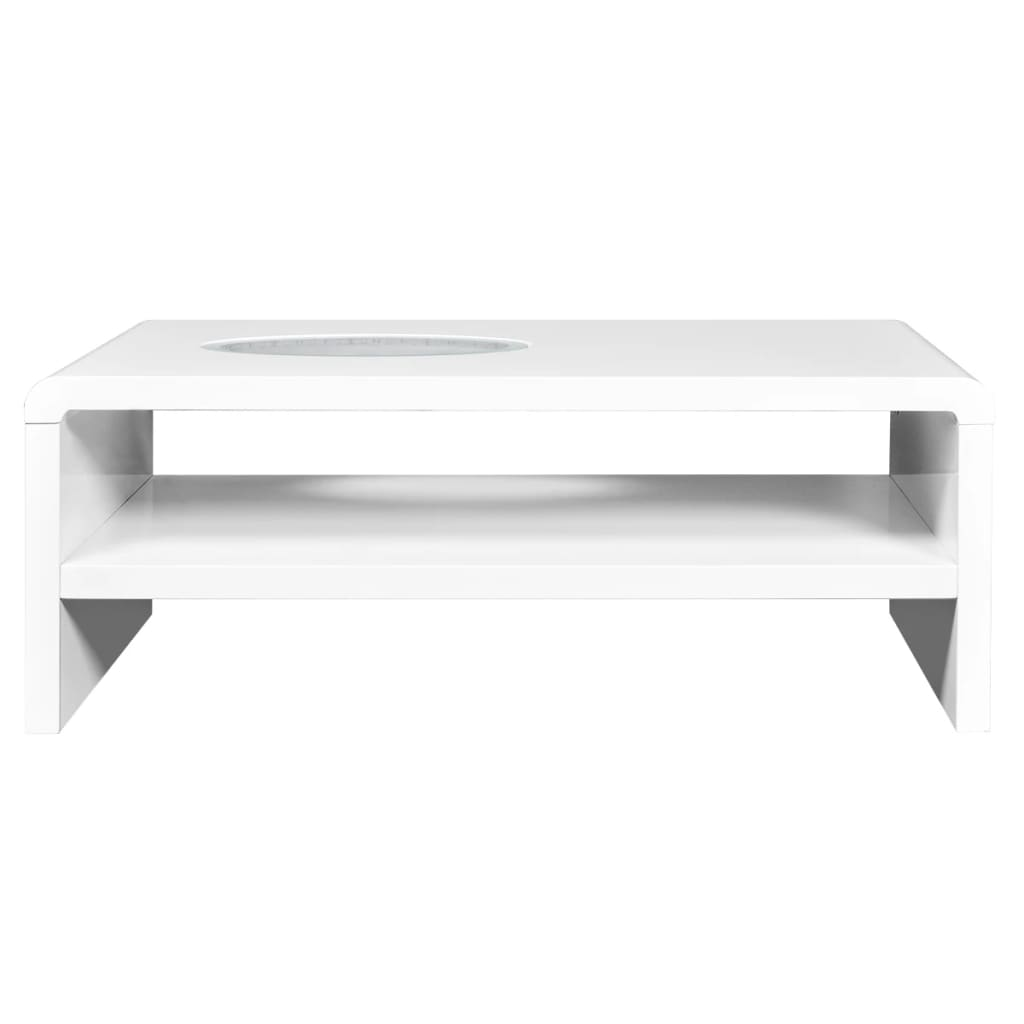 White High Gloss Coffee Table 85 Cm: High Gloss White Finish LED Coffee Table /Lighted Table