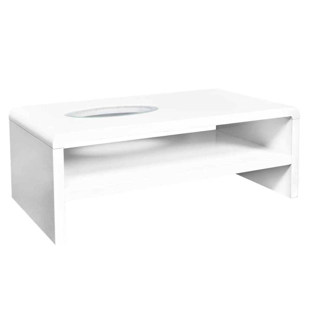 Rectangle High Gloss White Coffee Table With Led Lighting: High Gloss White Finish LED Coffee Table /Lighted Table