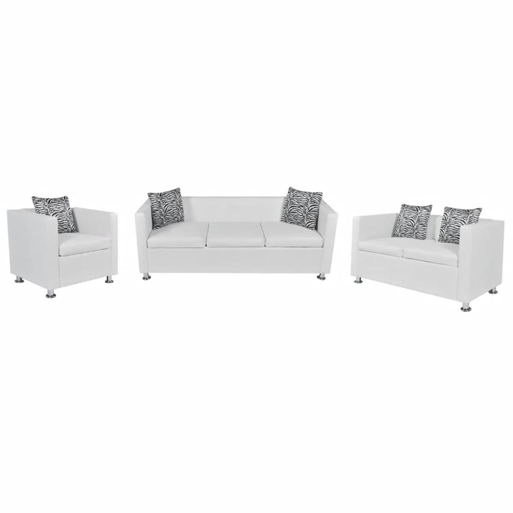 Luxury 321 Seater Artificial Leather Sofa Set With Pillow Wooden Legs White