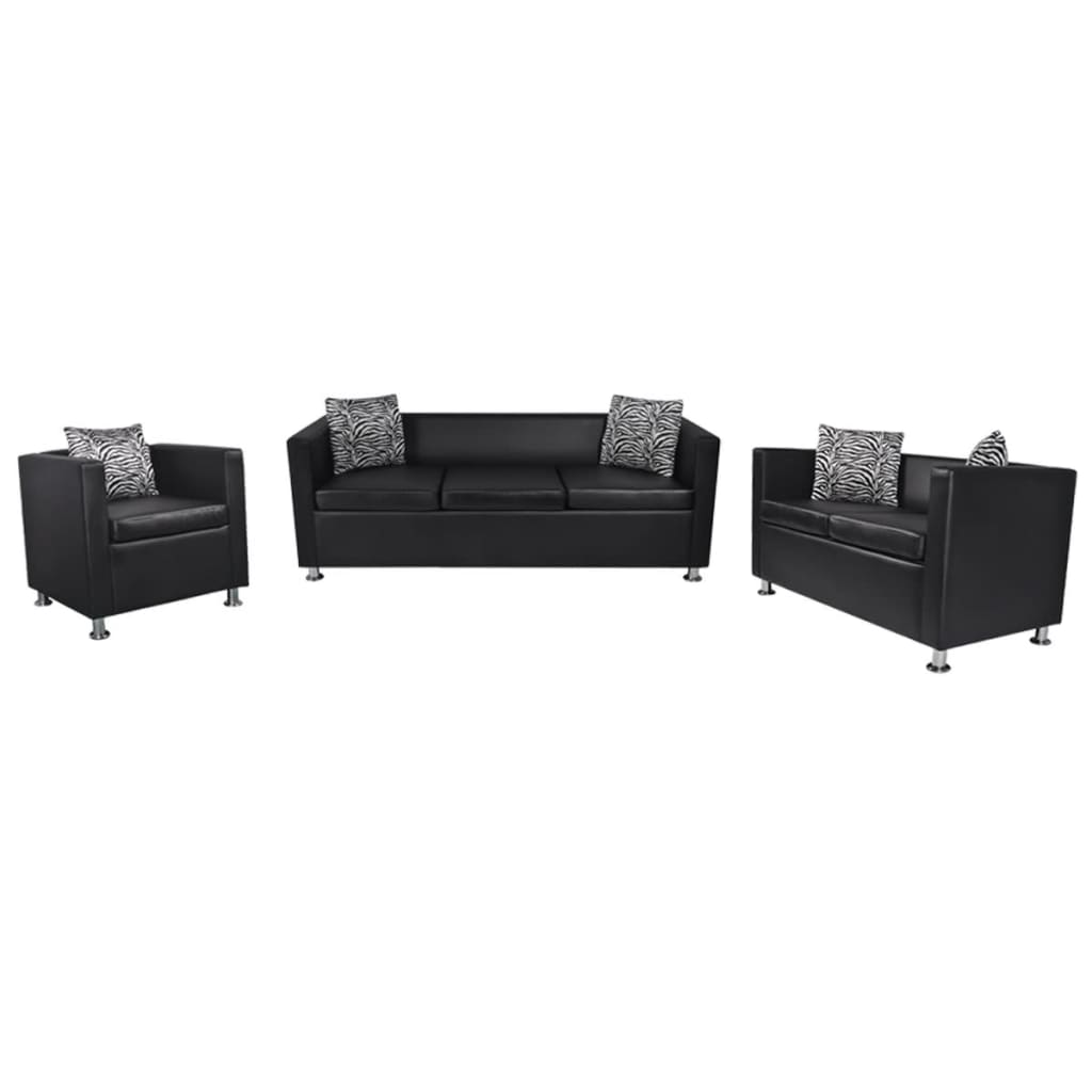 Luxury 321 Seater Artificial Leather Sofa Set With Pillow Wooden Legs Black