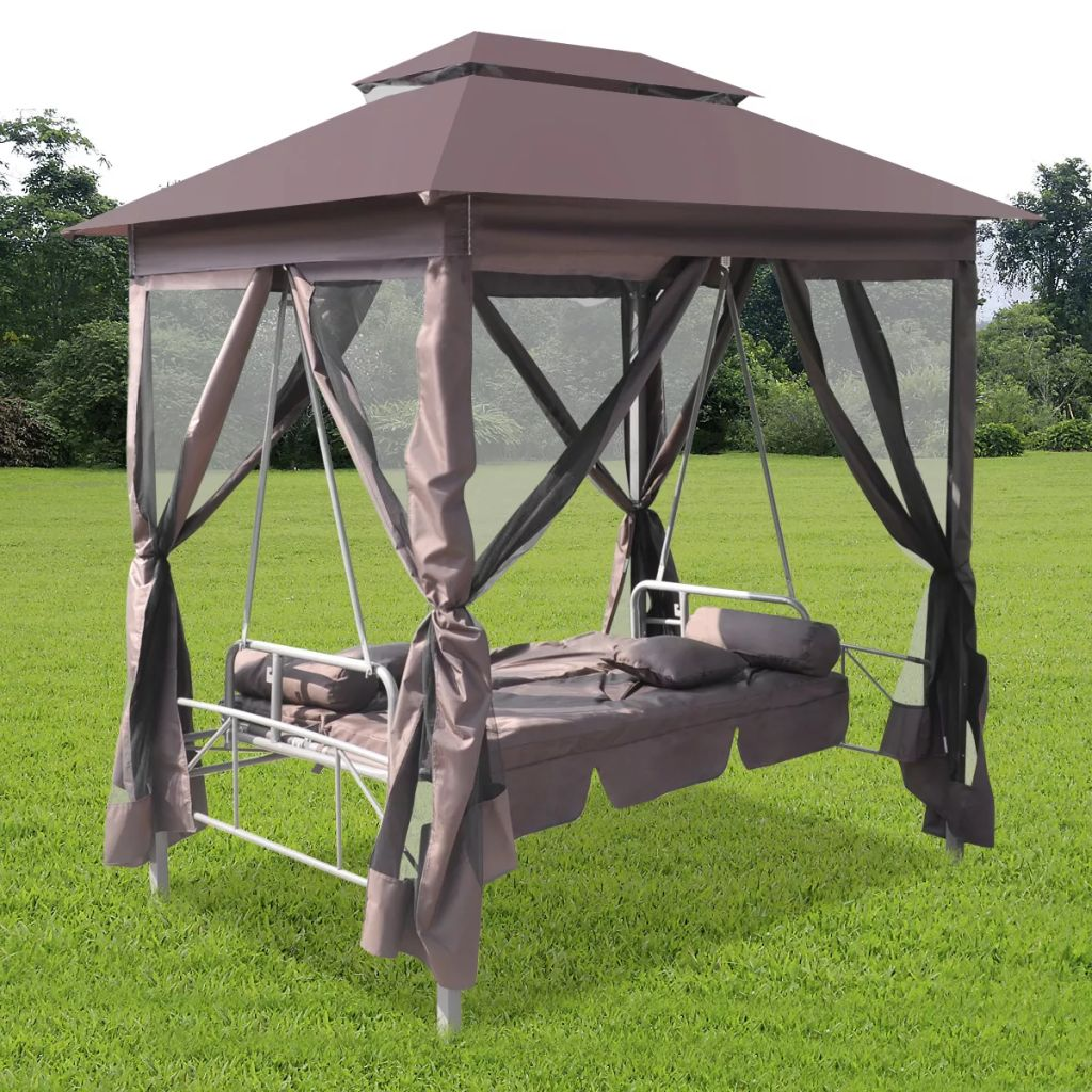 Vidaxl Luxury Outdoor Gazebo Swing Chair Sunbed Coffee