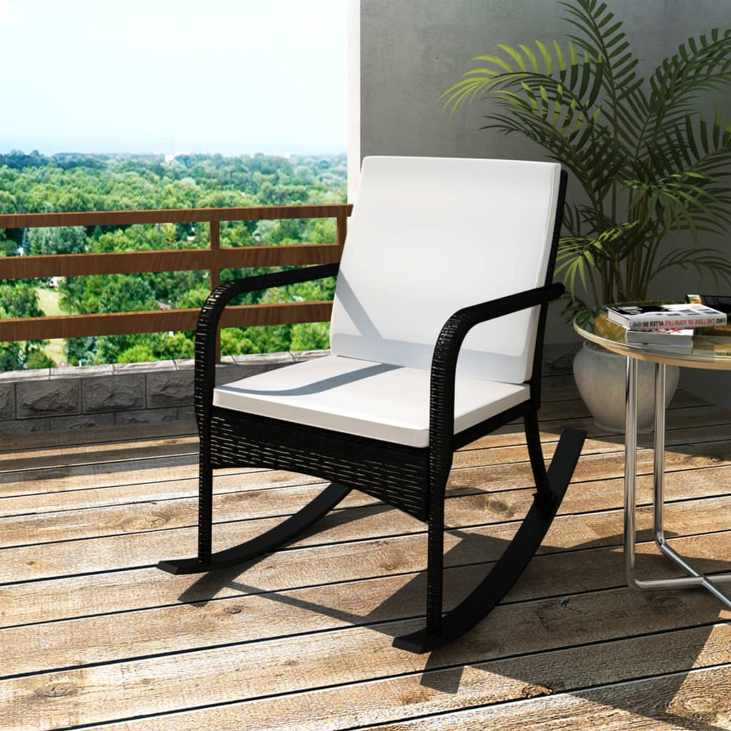 Vidaxl Outdoor Rocking Chair With Cushion Wicker Rattan Black Patio