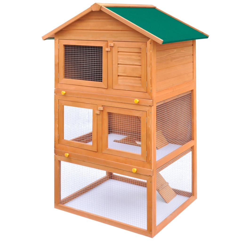 Rabbit Hutch Cage Pet Guinea Pig Chicken Coop Ferret House Wooden 3