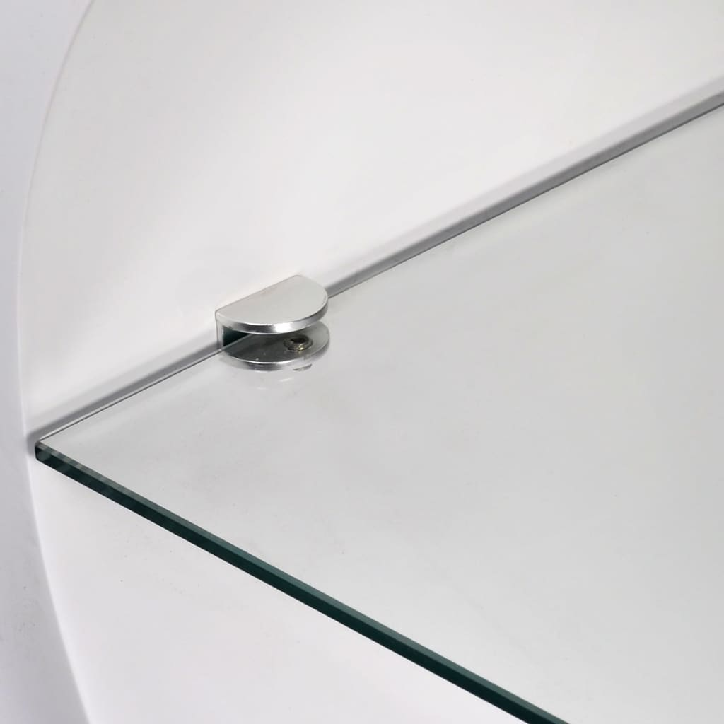 Abbey Coffee Table High Gloss White With 2 Pull Out Drawers: High Gloss White Coffee Table Oval MDF Glass Shelf Display