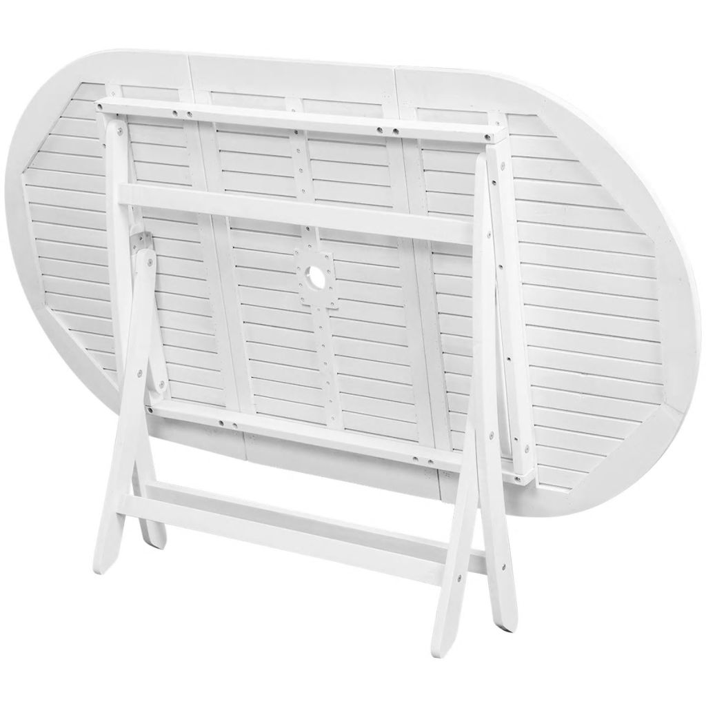 Oval Acacia Wood Outdoor Dining Table White Foldable ...