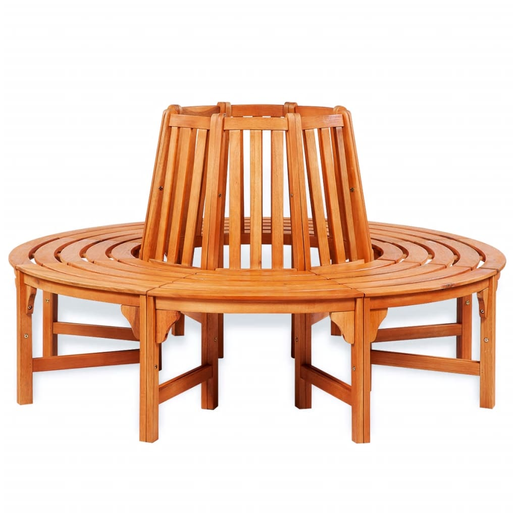 Patio Wood Tree Round Bench Circular Seat Outdoor Brown