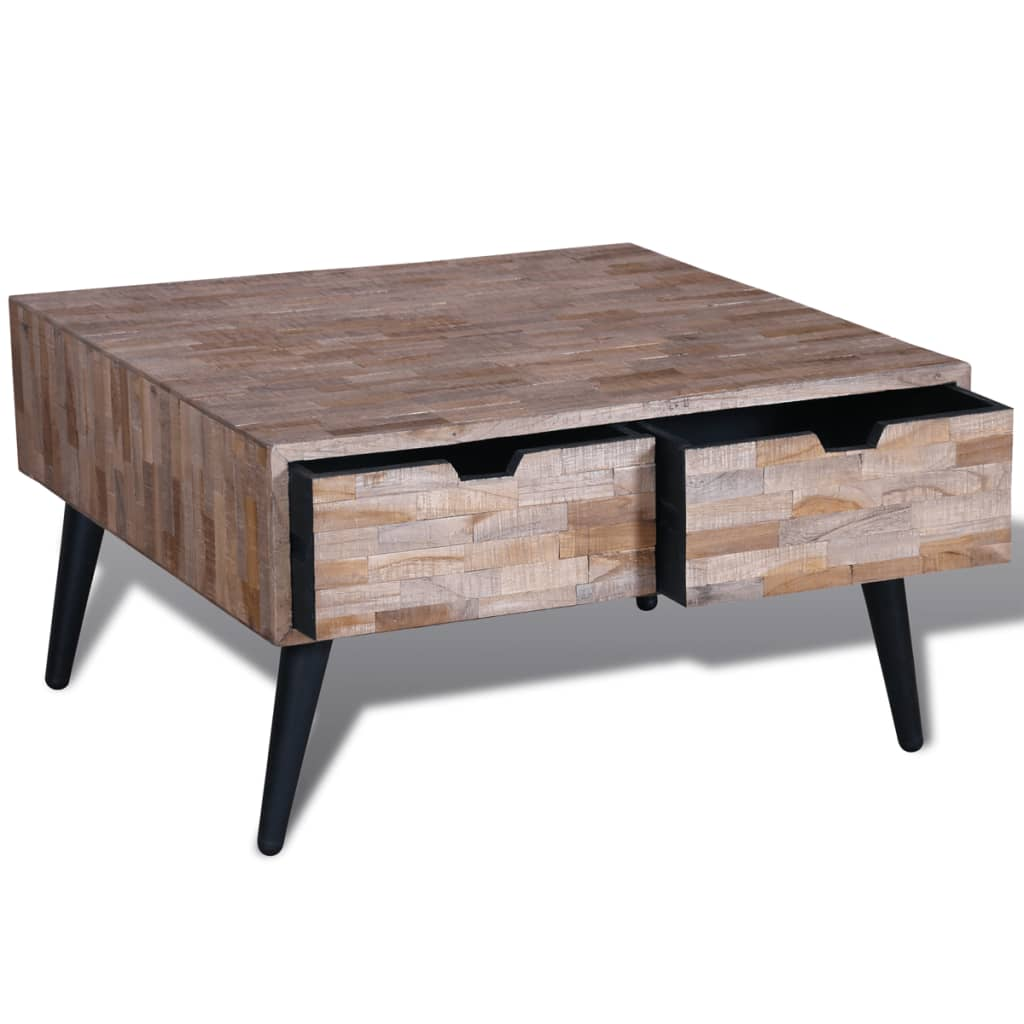 Reclaimed Teak Timber Coffee Side Table w/ 4 Drawer ...
