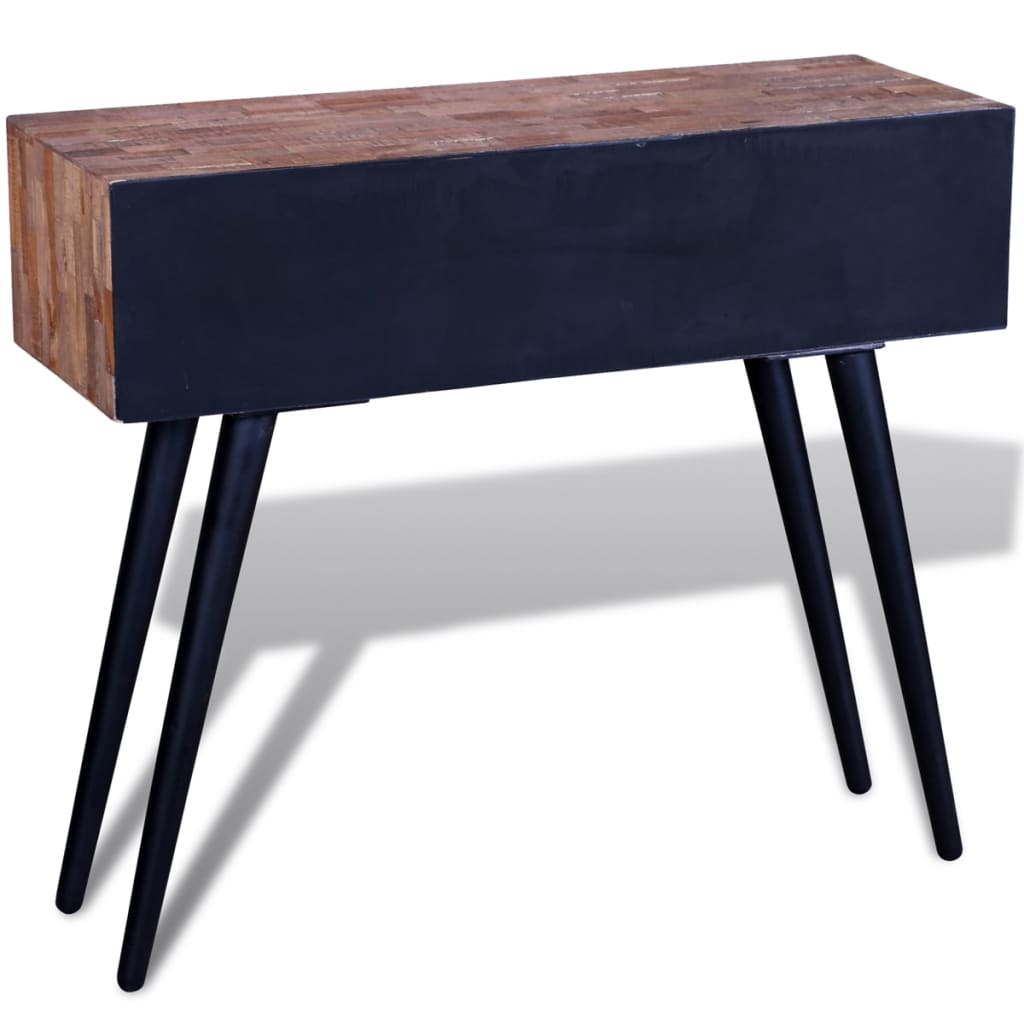 Vidaxl Coffee Table Teak Resin: VidaXL Reclaimed Teak Wood Console Table With 3 Drawers