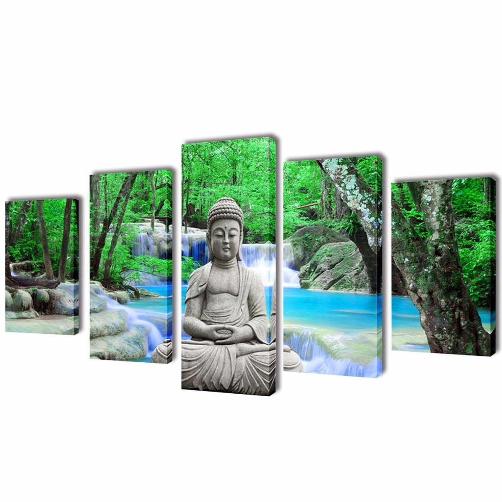 Set Of 5 Buddha Canvas Print Framed Wall Art Decor Painting 100x50cm Living  Room