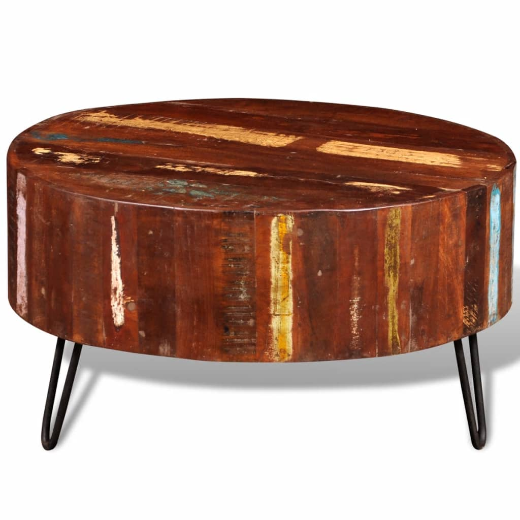 Vidaxl Coffee Table Solid Reclaimed Wood Round Console