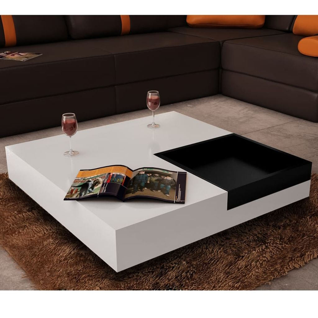 Black Square Kitchen Table: VidaXL Coffee Table Square White With Black Tray Kitchen