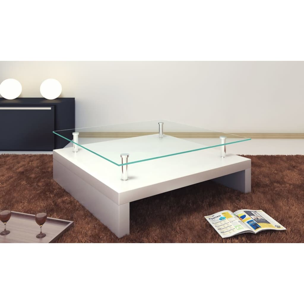 Set Of 2 Square Design Nesting Coffee Tables Made Of Black: White Coffee Table High Gloss Glass Top Bedside Kitchen
