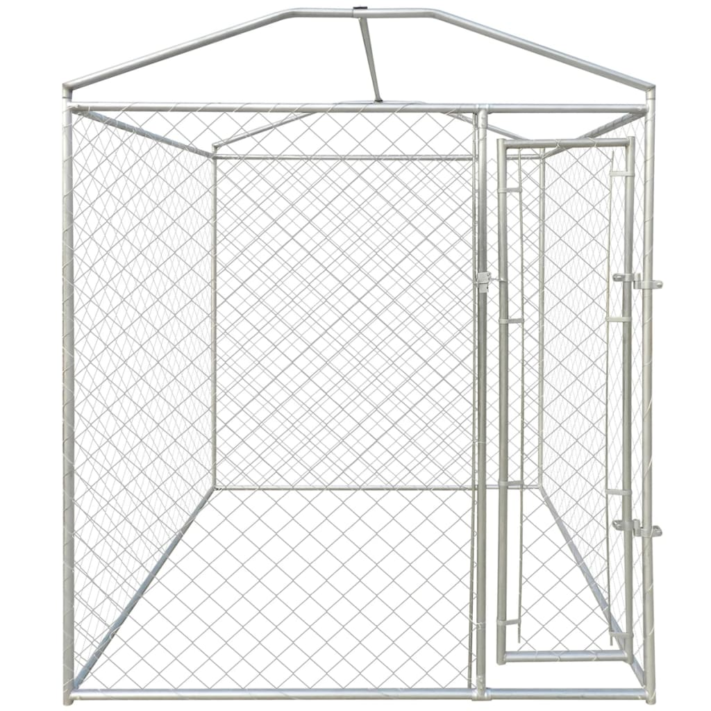 Vidaxl Outdoor Dog Kennel With Canopy Top Steel Pet House